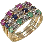 VIntage 10k Gold Stacking Rings ~ Ruby, Emerald, Sapphire and Diamond