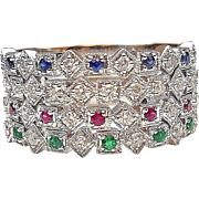 .57 ctw Diamond, Ruby, Emerald and Sapphire Stacking Rings 14k White Gold