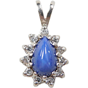 Vintage 14k White Gold Star Sapphire and Diamond Pendant
