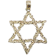 Vintage 14k Gold Filigree Star of David Pendant