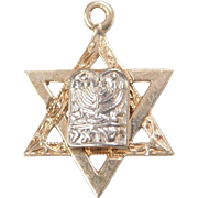 Vintage 14k Gold Jewish Star of David Menorah Charm ~ Religious ~ Hanukkah