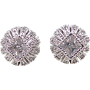 Sterling Silver Faux Diamond Stud Earrings