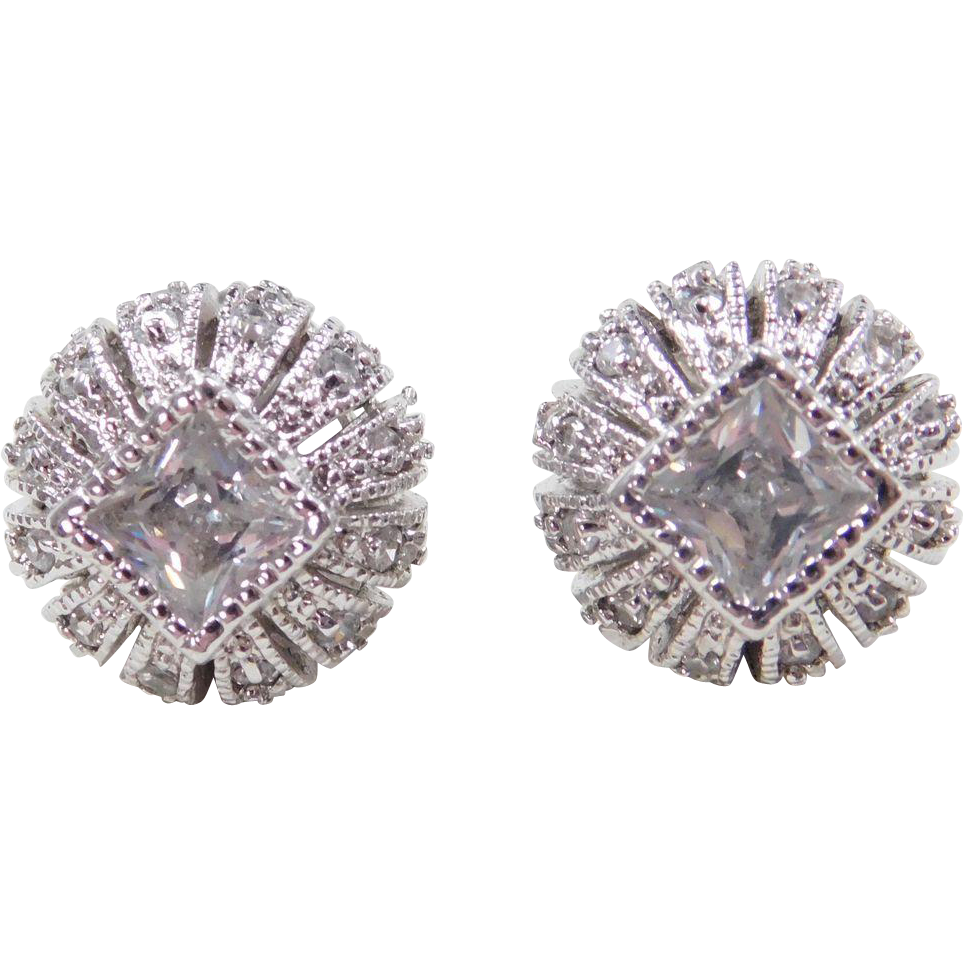 sterling silver faux diamond stud earrings from. Black Bedroom Furniture Sets. Home Design Ideas
