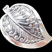 Vintage Sterling Silver Danecraft Leaf Pin / Brooch