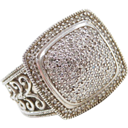 Sterling Silver Big Diamond Pave Ring