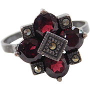 Sterling Silver Garnet and Marcasite Ring Circa 1940-50's