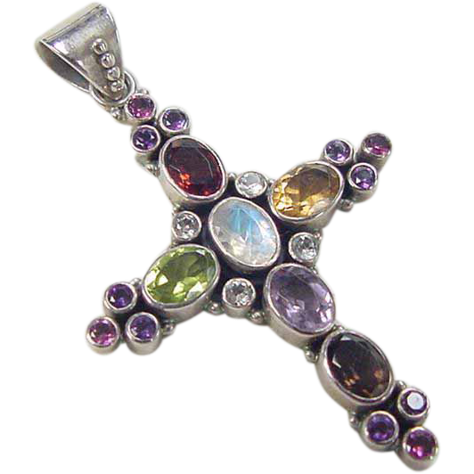 vintage sterling silver gem stone cross pendant from