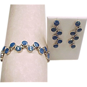 Sterling Silver Lapis Lazuli Bracelet and Earrings Set