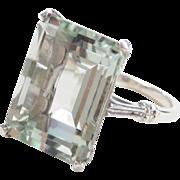 Sterling Silver 11.40 ctw Light Green Prasiolite Ring