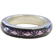 Sterling Silver Purple Enamel Band Ring