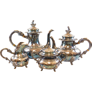 Sterling Silver ALT-Heidelberg 4 Piece Tea Set (CP, TP, Creamer, Sugar)
