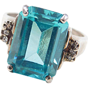 Vintage Sterling Silver Blue Topaz and Faux Diamond Ring