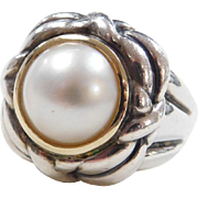BIG Sterling Silver and 14k Gold Cultured Pearl Ring