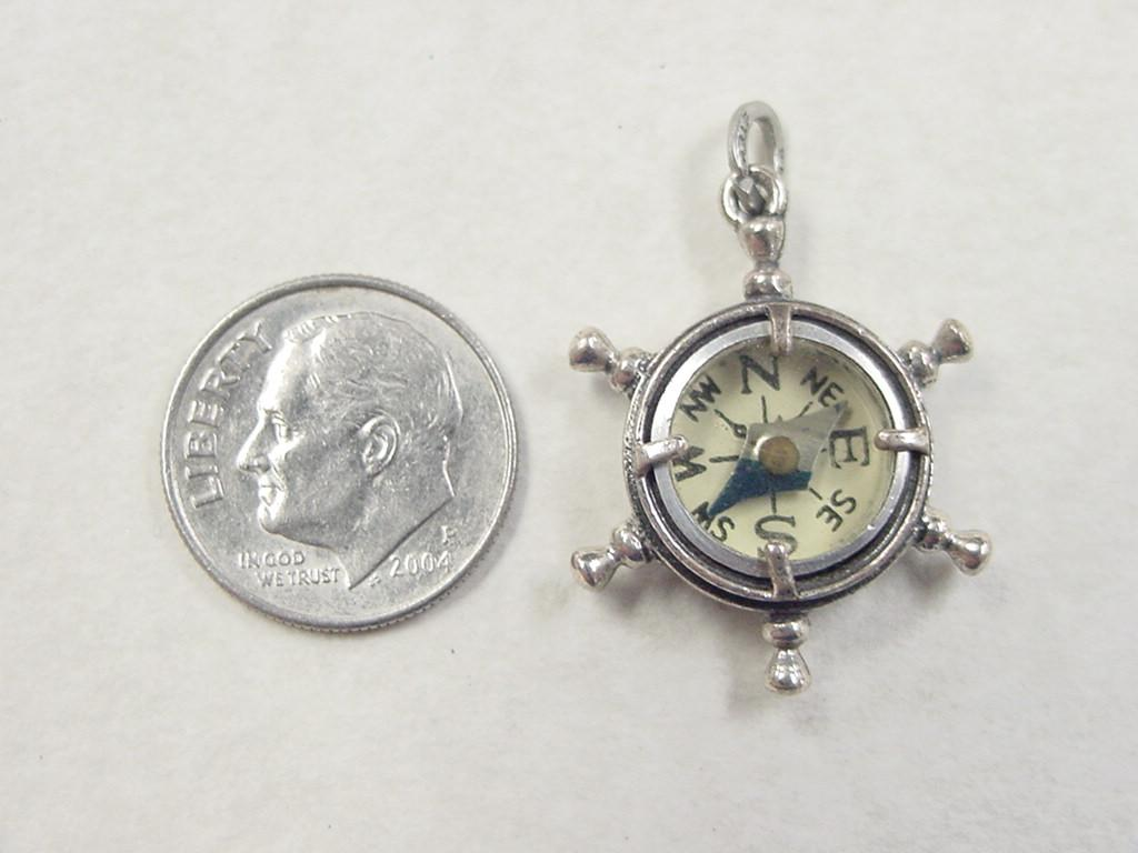 vintage sterling silver beau ships wheel compass charm