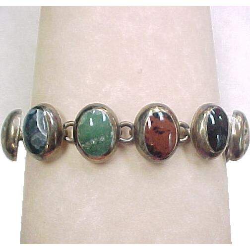 Vintage Multi Stone Bracelet Sterling Silver Arnold Jewelers Ruby Lane