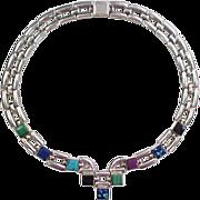 Vintage 950 Silver Multi Gem Stone Necklace