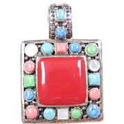 Sterling Silver Colorful Stone Pendant