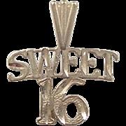 Vintage 14k Gold Sweet 16 Birthday Charm
