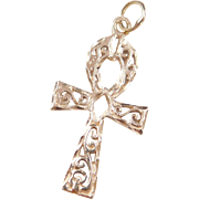 Vintage 14k Gold Ankh Pendant with Swirl Design