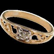 Vintage 14k Gold Baby Diamond Ring Size 1