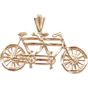 Vintage 14k Gold Tandem Bicycle Charm