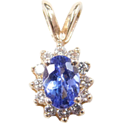 Vintage 14k Gold Tanzanite and Diamond Pendant