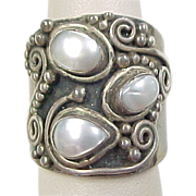 Vintage Sterling Silver Wide Three Pearl Bead Ring