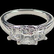 Vintage Sterling Silver Faux Diamond Princess Cut Ring