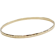 Tiffany & Co 14k Gold Hammered Bangle Bracelet 7 3/4""