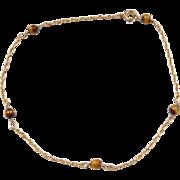 """Vintage 14k Gold Tigers Eye Station Bead Bracelet ~ 6 3/4"""""""