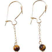 Vintage 14k Gold Tigers Eye Dangle Earrings