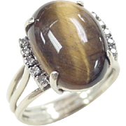 Vintage 14k Gold Tigers Eye and Diamond Ring
