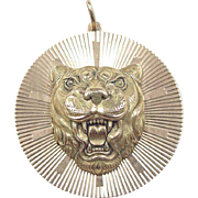 Vintage 14k Gold BIG Tiger Pendant / Charm
