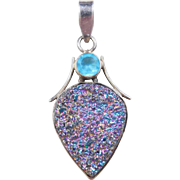 Sterling Silver Titanium Druzy and Blue Glass Pendant