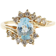 Vintage 14k Gold 1.45 ctw Blue Topaz and Diamond Bypass Ring