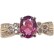 Vintage 14k Gold 1.40 ctw Pink Tourmaline and Diamond Ring