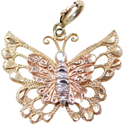 Vintage 14k Gold Tri-Color Butterfly Charm