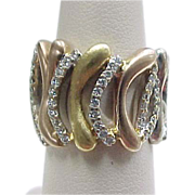 Beautiful 18k Gold Tri-Color Diamond Wide Band Ring .43 ctw