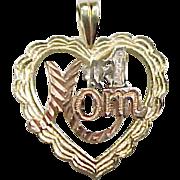 Vintage 14k Gold Tri-Color #1 Mom Heart Pendant / Charm
