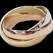 Vintage 14k Gold Gents Tri-Color Rolling Ring