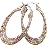 Sterling Silver Tri-Color Hoop Earrings