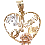 Vintage 14k Gold Tri-Color #1 MOM Heart Charm with Flower Accent