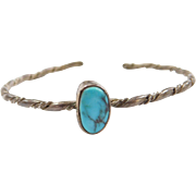 Vintage Sterling Silver Baby / Childs Turquoise Cuff Bracelet