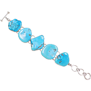 "950 Silver BIG CHUNKY Turquoise Stone Bracelet ~ 7 1/2"" - 8 1/2"""