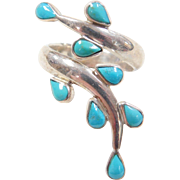 Vintage Sterling Silver Turquoise Bypass Ring