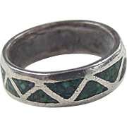 Vintage Sterling Silver Turquoise Chip Inlay Ring