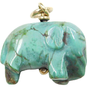 Vintage 14k Gold Carved Turquoise Elephant Charm