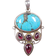 Sterling Silver Turquoise and Garnet Pendant