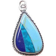 Sterling Silver Turquoise and Lapis Pendant