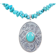 "Sterling Silver Turquoise Necklace ~ 17 1/2"" - 19 1/2"""